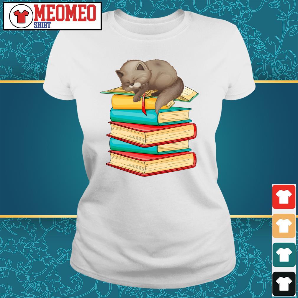 Cats sleep with books s Ladies-tee