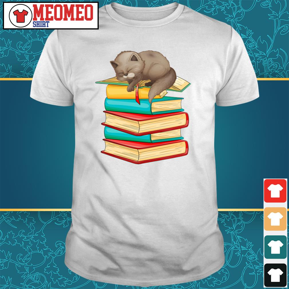 Cats sleep with books shirt