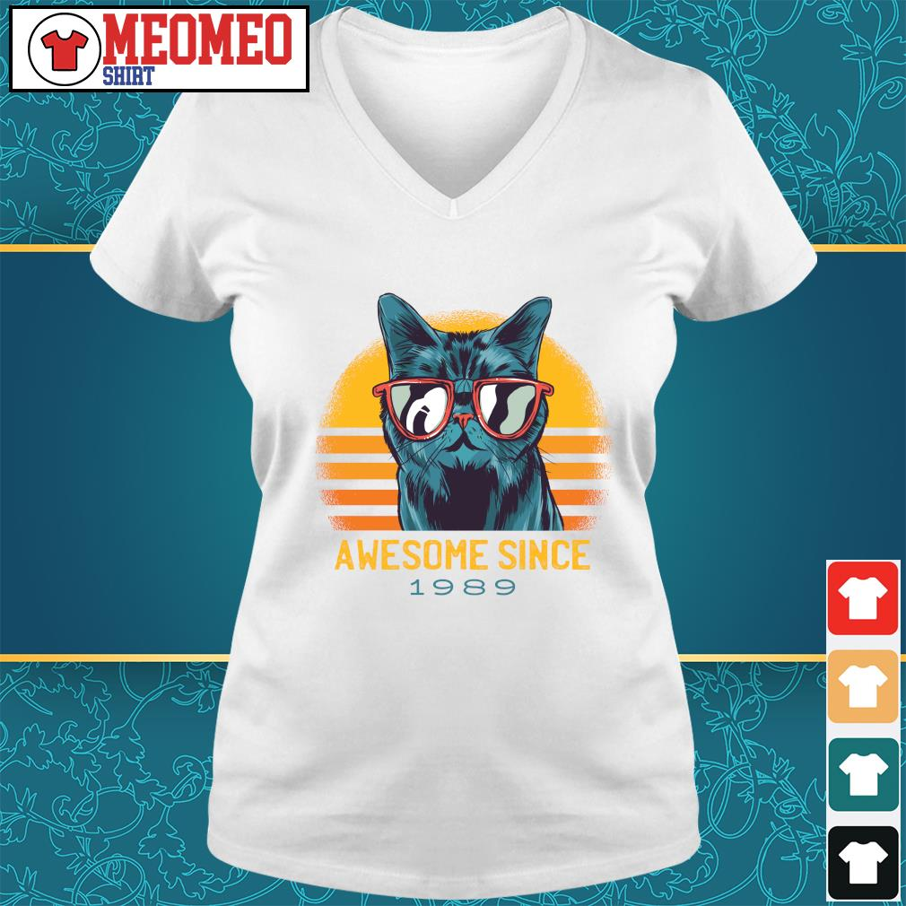 Vintage cats awesome since 1989 s V-neck-t-shirt