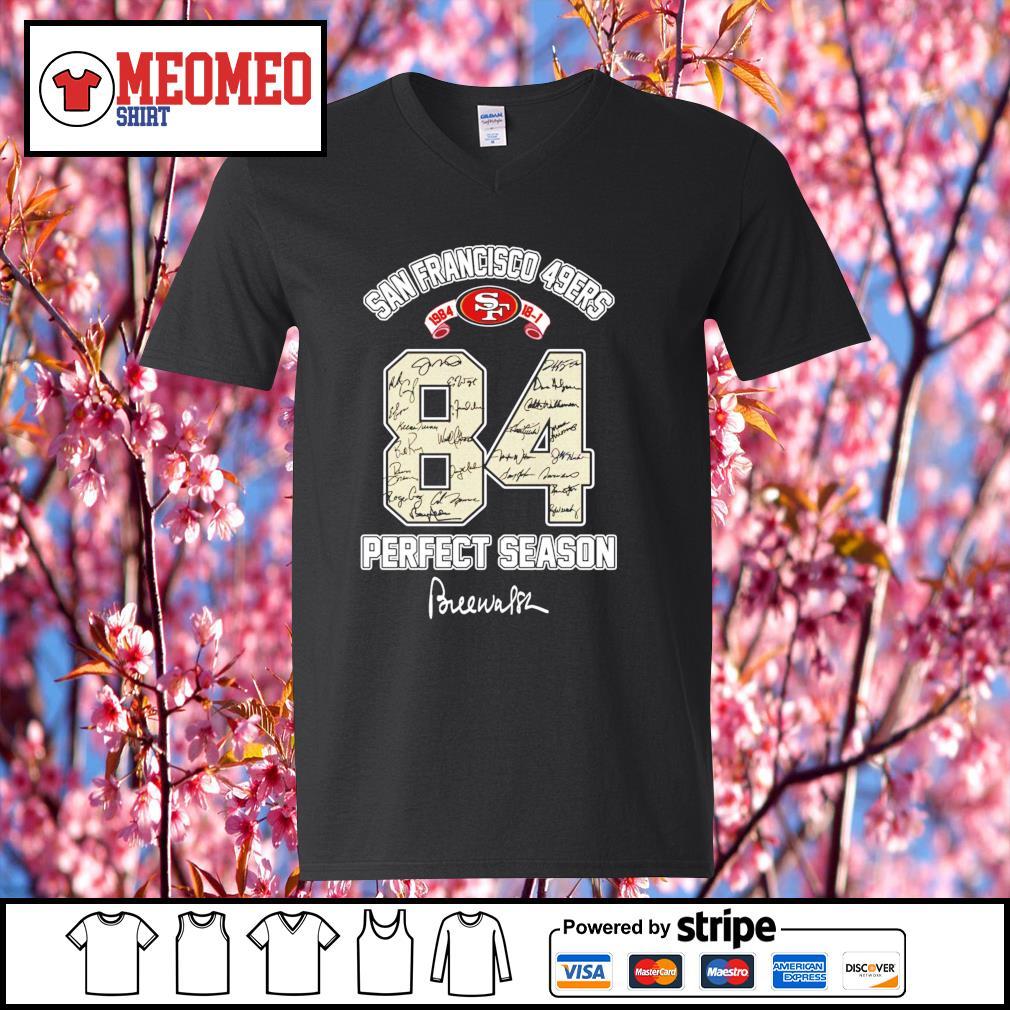 84 San Francisco 49ers 1984 prefect season signature s V-neck-T-shirt