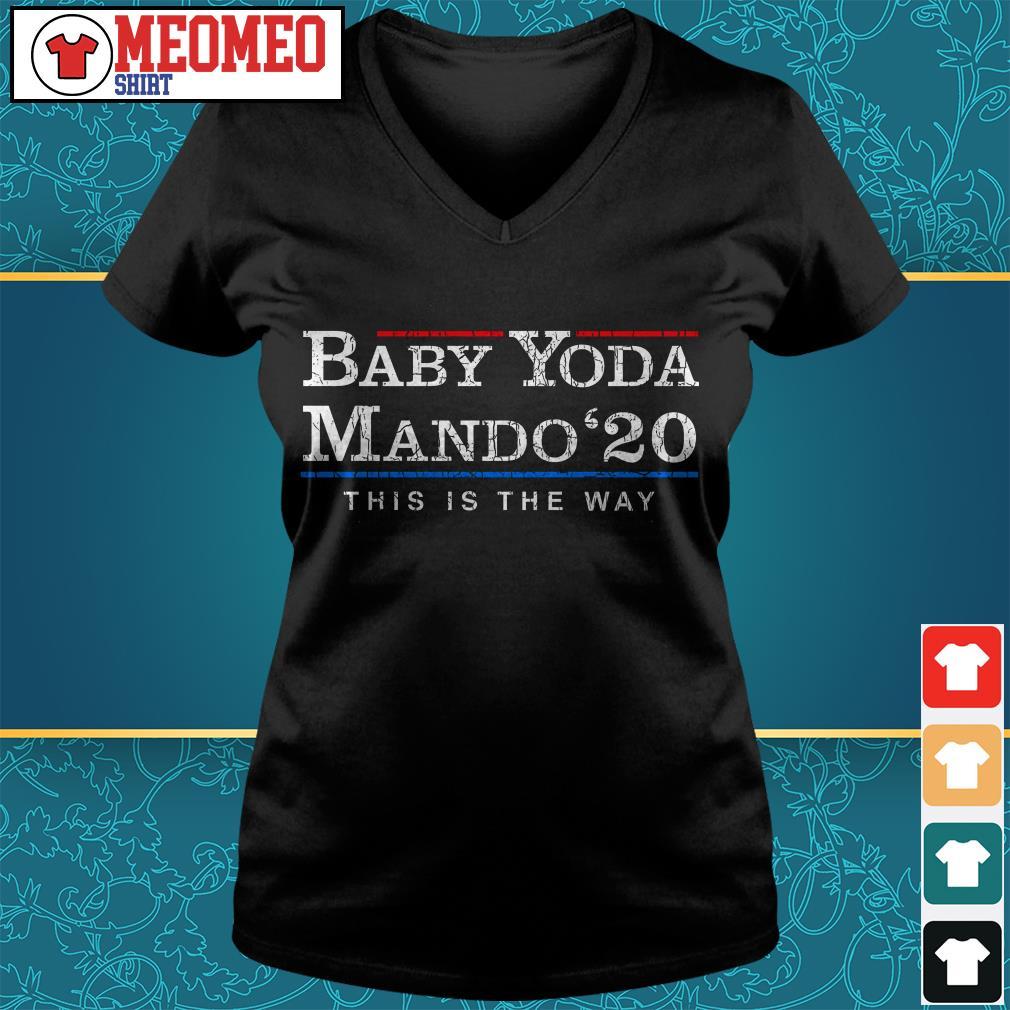 Baby Yoda Mando 20 this is the way V-neck t-shirt