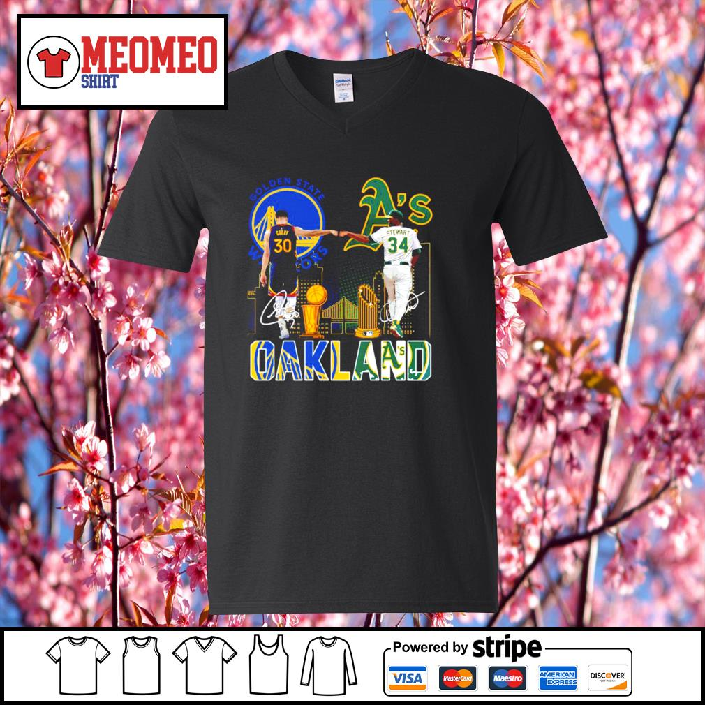Curry Golden State Warriors and Stewart Oakland Athletics Oakland signatures s V-neck-T-shirt