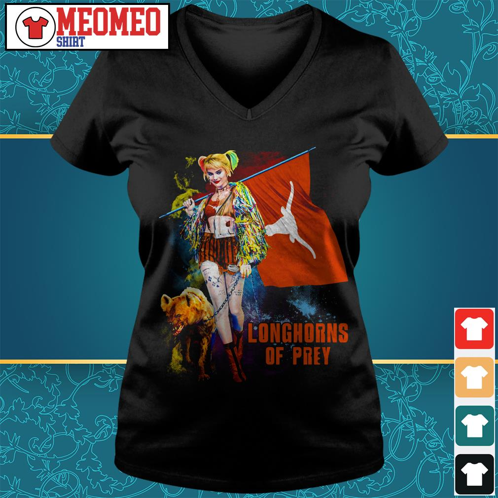 Harley Quinn Longhorns of prey V-neck t-shirt