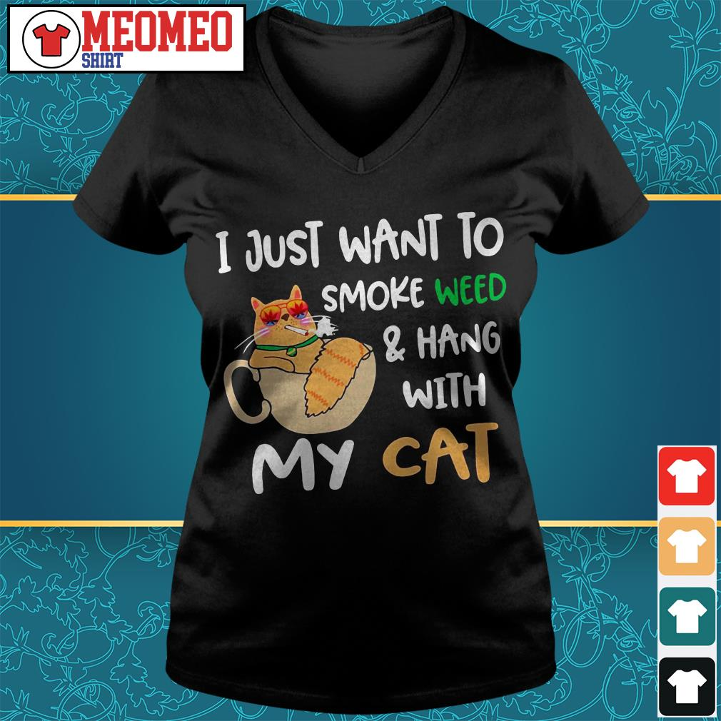 I just want to smoke weed and hang with my cat V-neck t-shirt