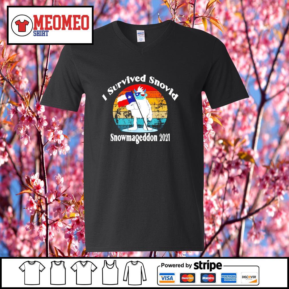 I survived snovid snowmageddon 2021 vintage s V-neck-T-shirt