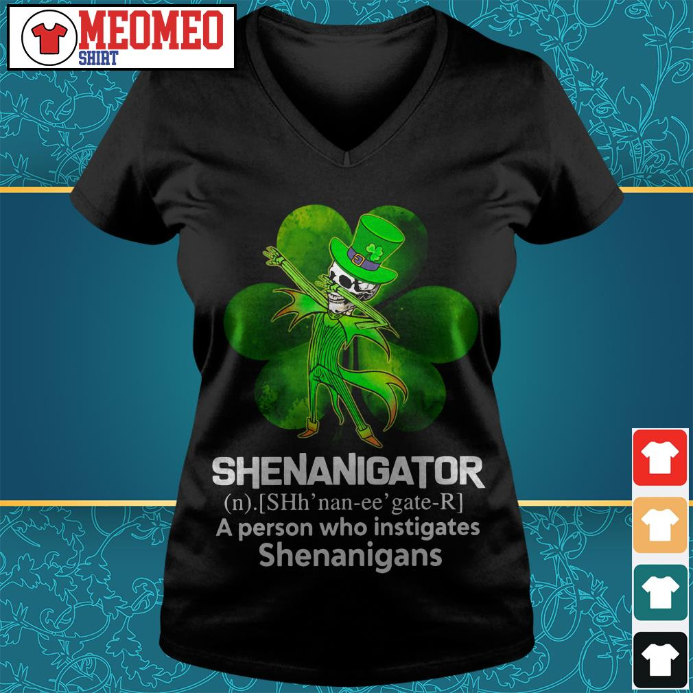 Jack Skellington Shenanigator a person who instigates shenanigans V-neck t-shirt