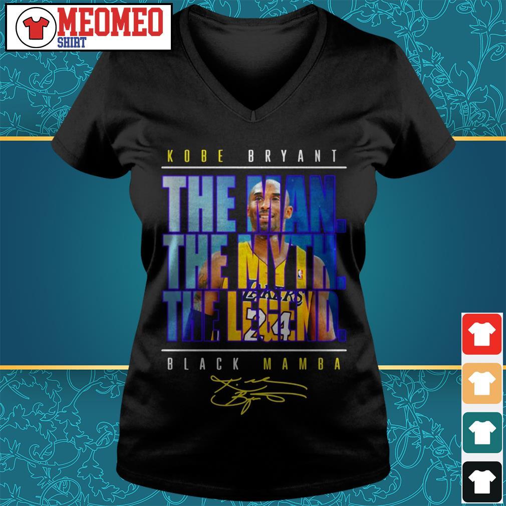 Kobe Bryant the man the myth the legend black Mamba signature V-neck t-shirt