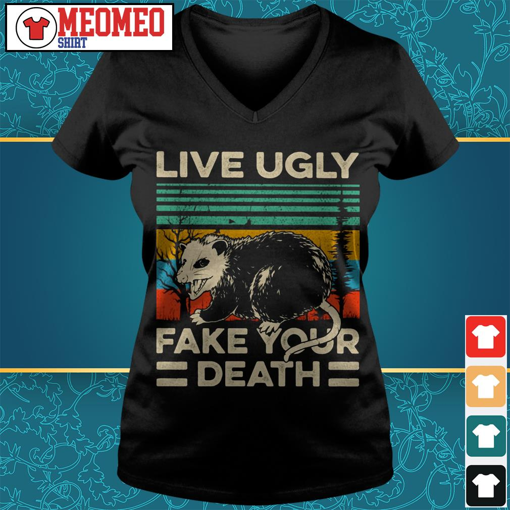 Live Ugly fake your death retro vintage V-neck t-shirt