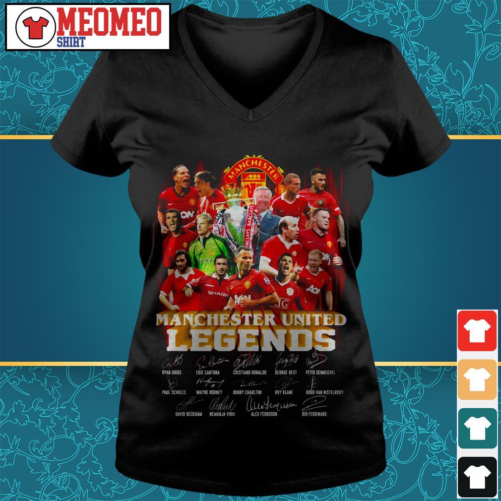Manchester united legends signature V-neck t-shirt