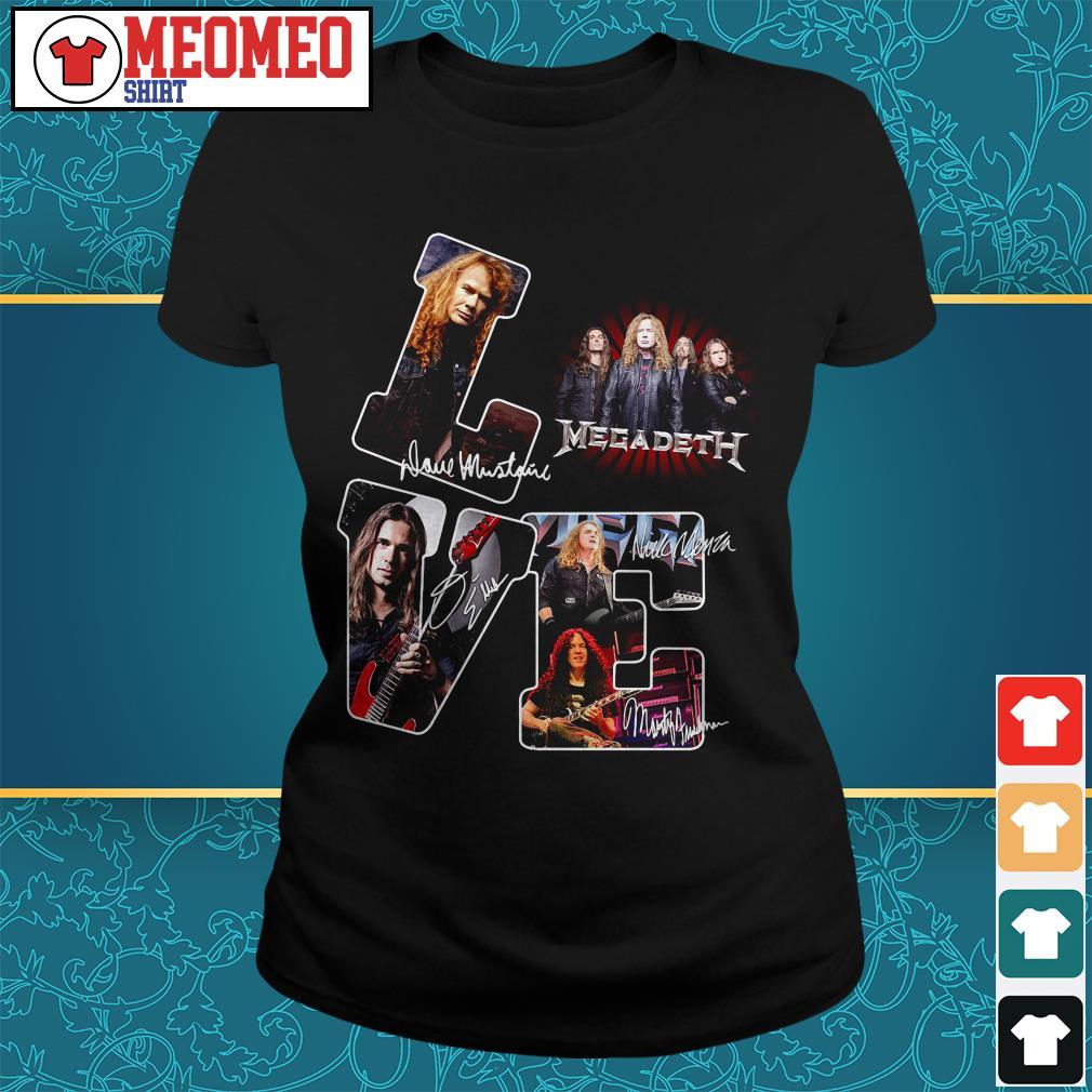 Megadeth band signatures love Ladies tee
