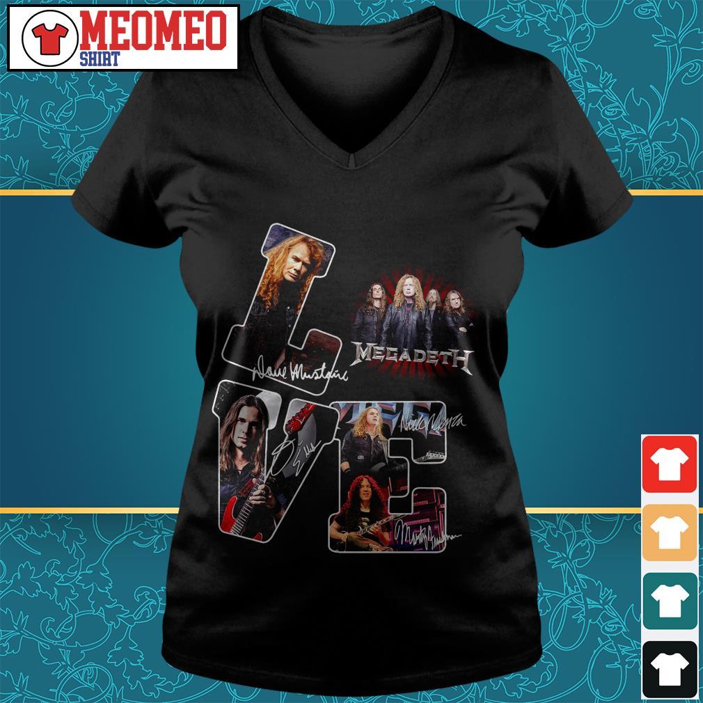 Megadeth band signatures love V-neck t-shirt