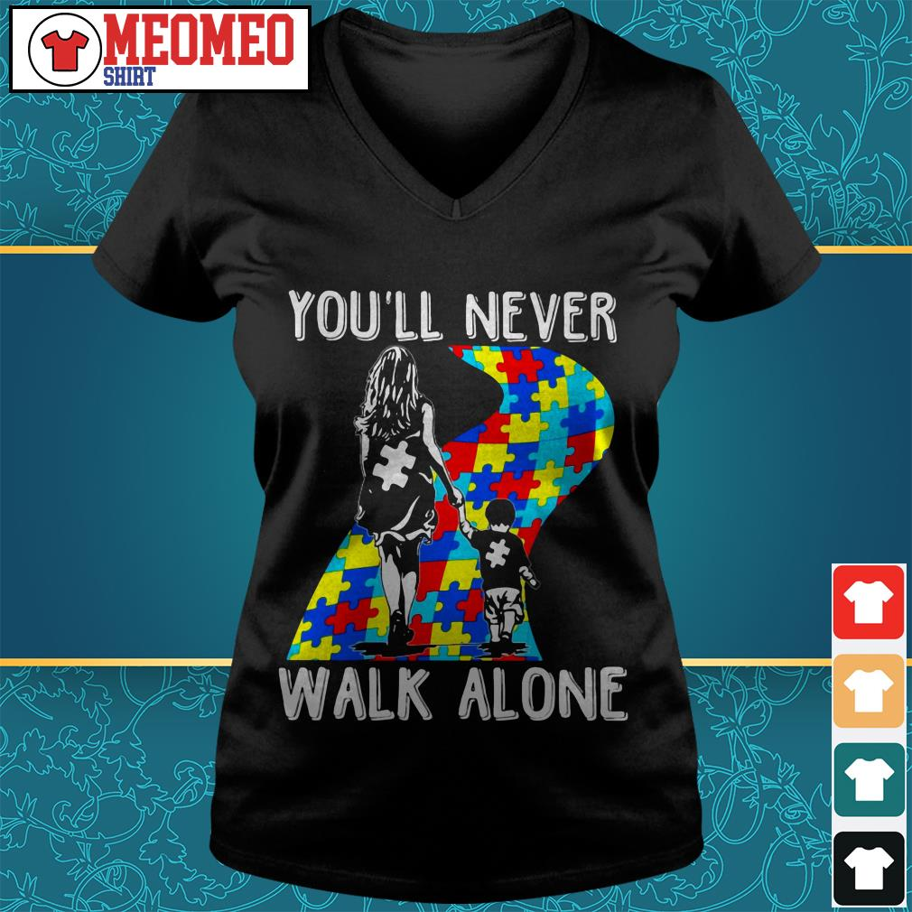 Mom and son you'll never walk alone V-neck t-shirt