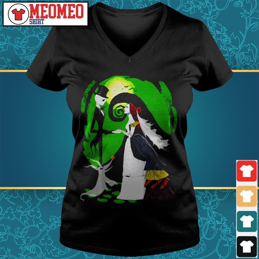 Nightmare before christmas Jack and Sally marry V-neck t-shirt