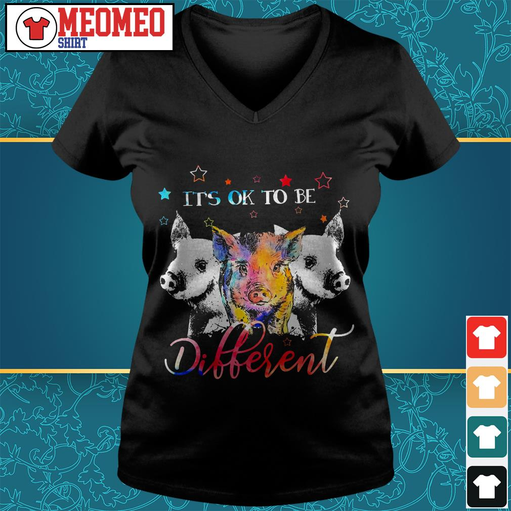 Official three Pig it's ok to be different V-neck t-shirt