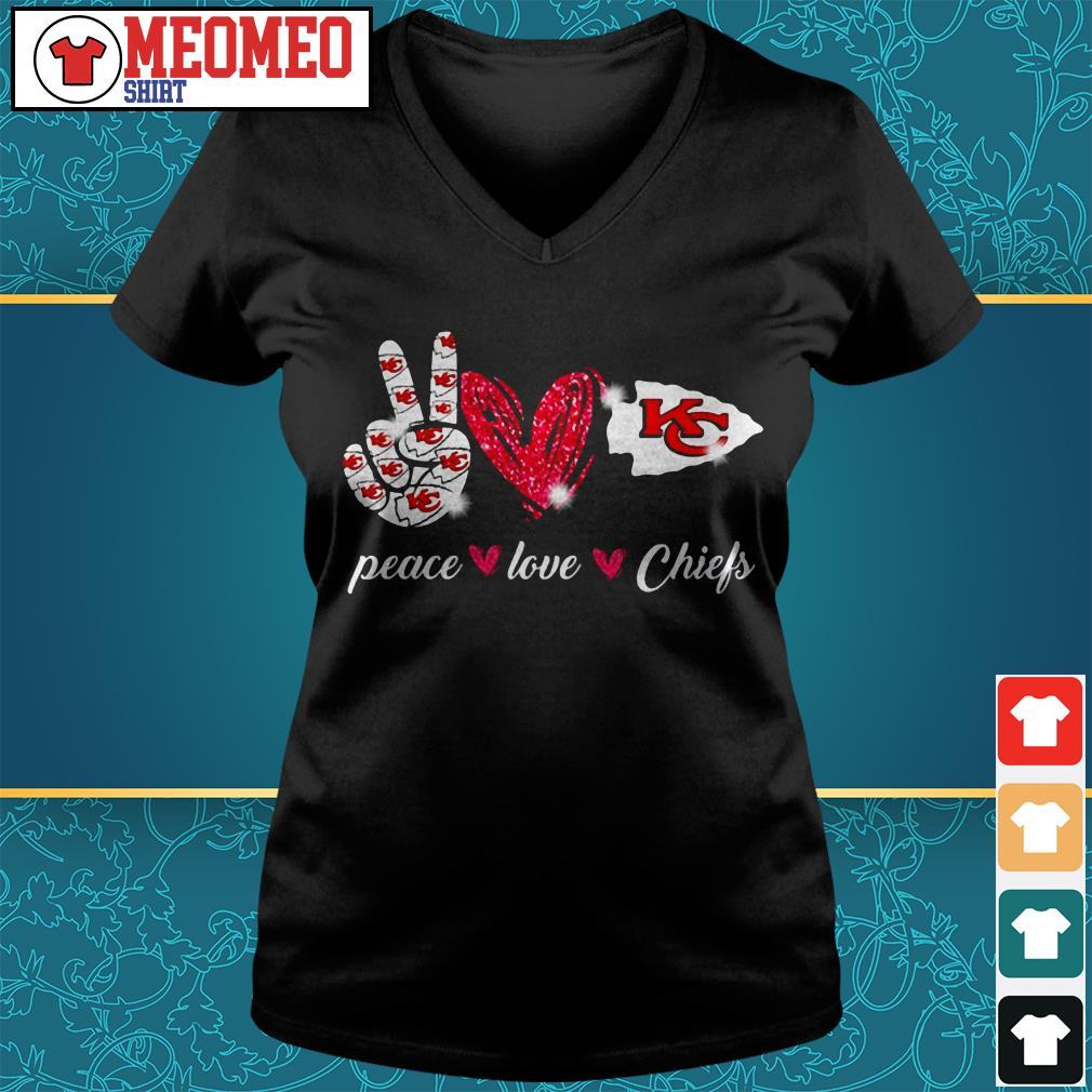 Peace love Chiefs V-neck t-shirt