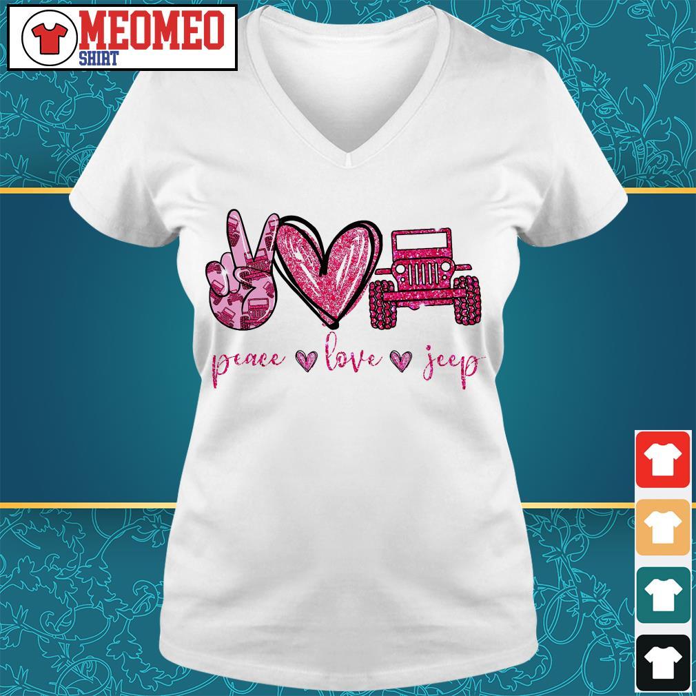 Peace love jeep V-neck t-shirt