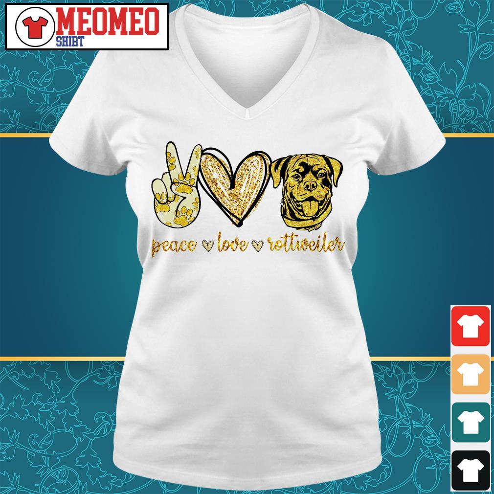 Peace love Rottweiler dog V-neck t-shirt