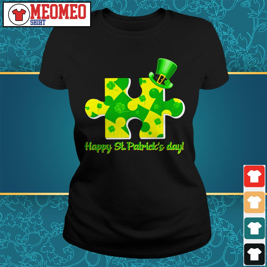 Piece of a jigsaw puzzle happy St Patrick's day Ladies tee