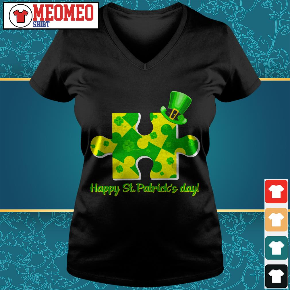Piece of a jigsaw puzzle happy St Patrick's day V-neck t-shirt