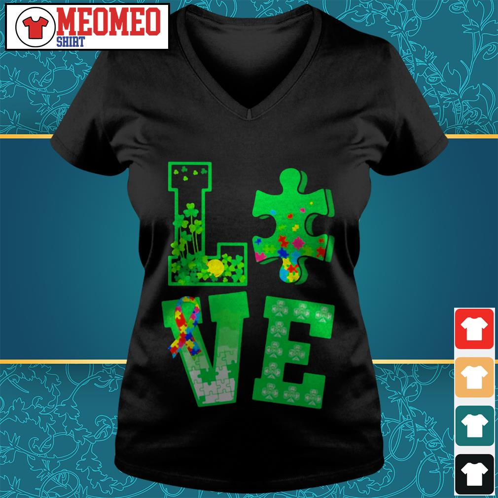 Piece of a jigsaw puzzle love St Patrick's day V-neck t-shirt