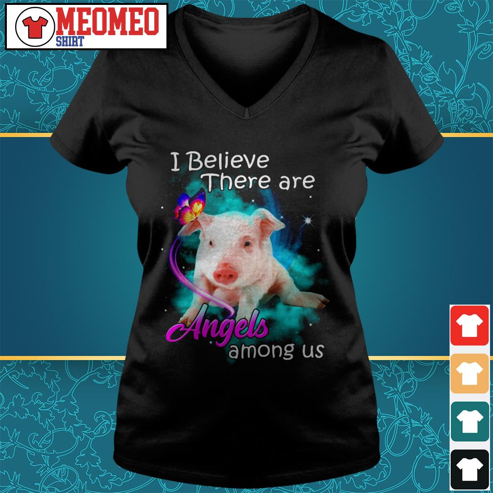 Pig I believe there are angels among us V-neck t-shirt