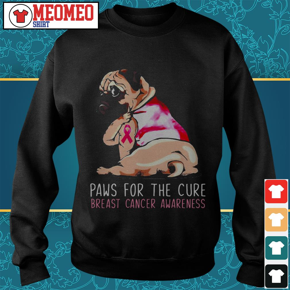 Pug paws for the cure breast cancer awareness Sweater
