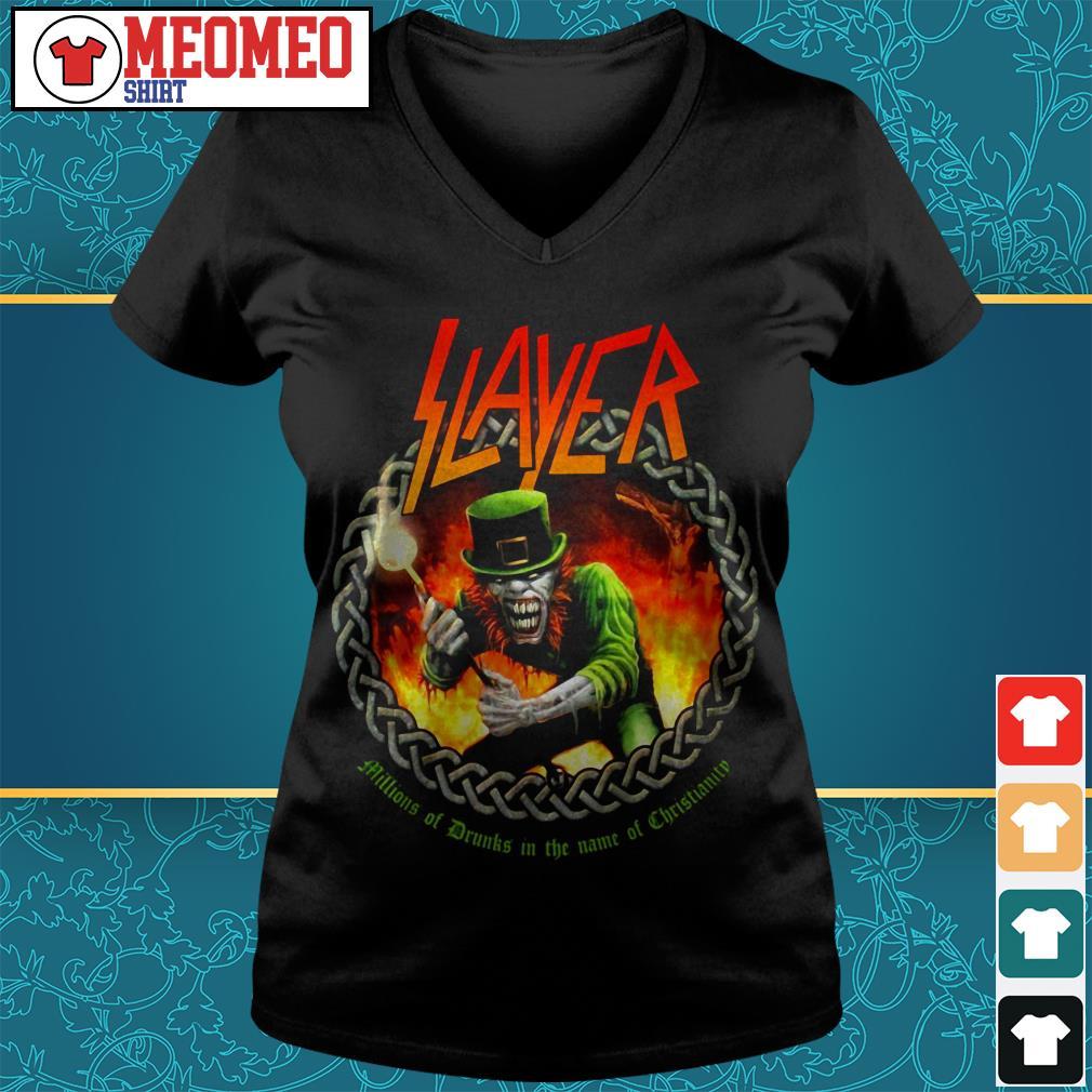 Slayer band millions of drunks in the name of christianity V-neck t-shirt