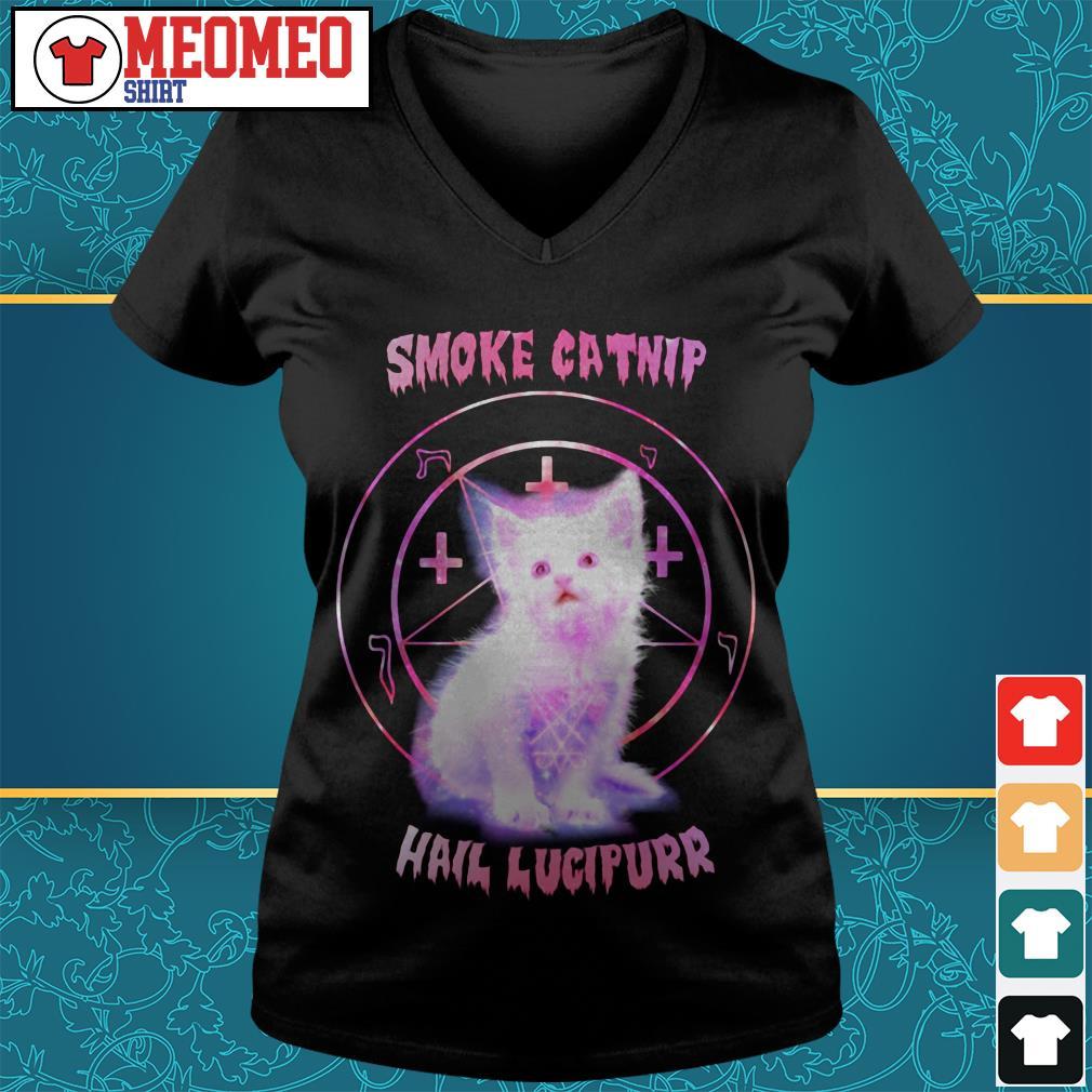 Smoke catnip hail lucipurr V-neck t-shirt