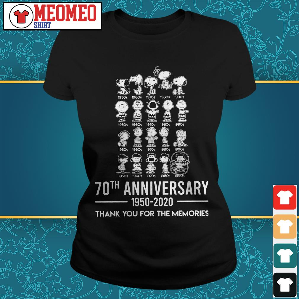 Snoopy 70th anniversary 1950-2020 thank you for the memories Ladies tee