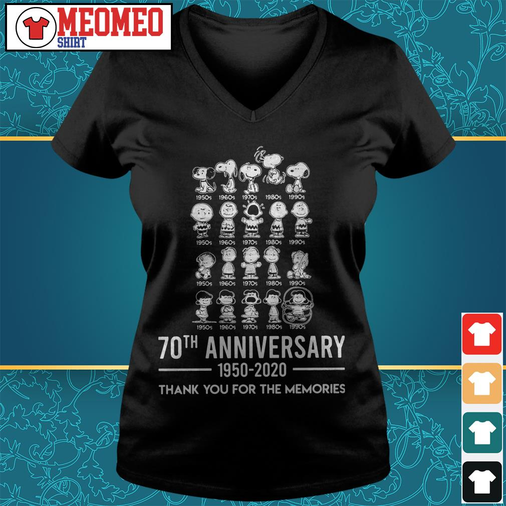 Snoopy 70th anniversary 1950-2020 thank you for the memories V-neck t-shirt