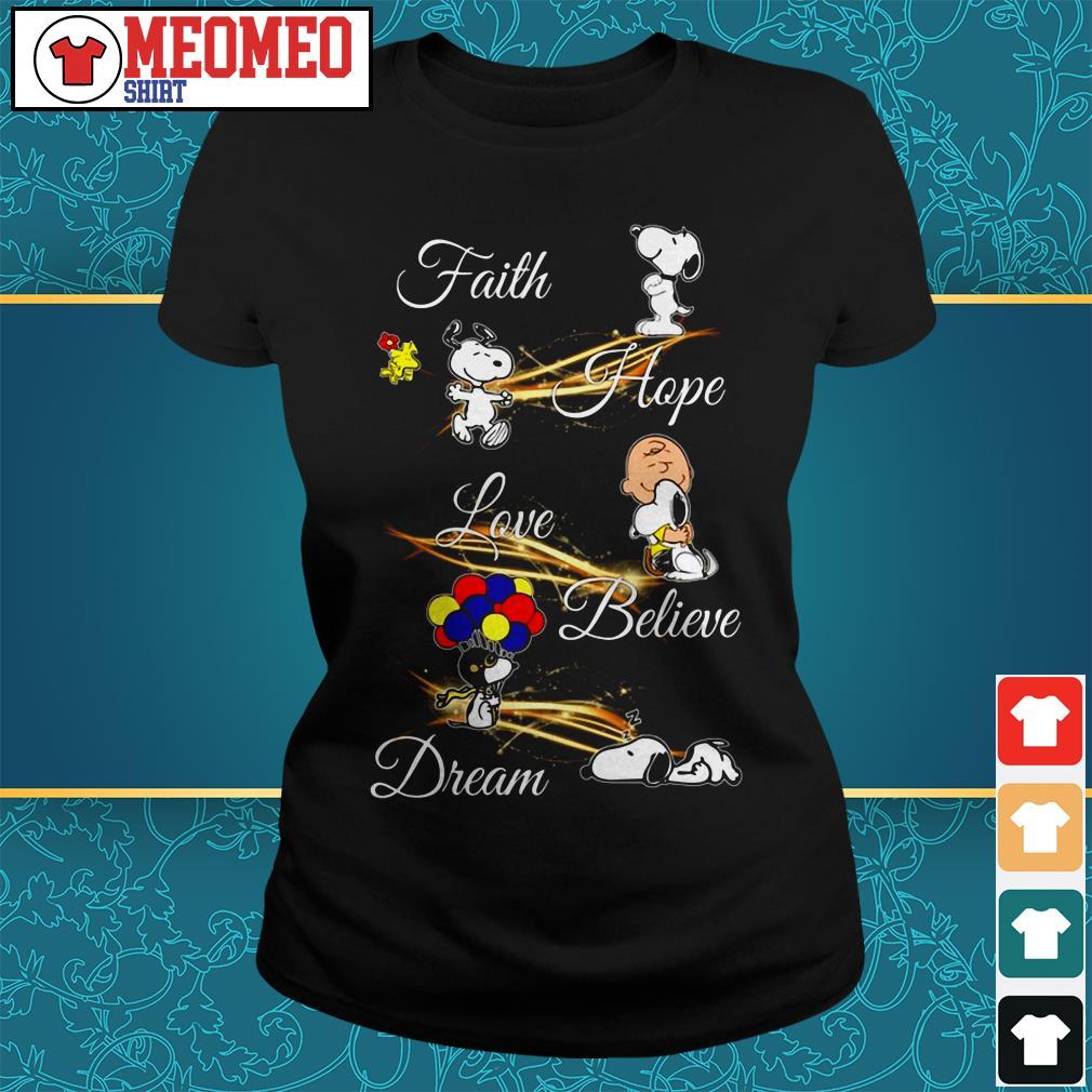 Snoopy faith hope love believe dream Ladies tee