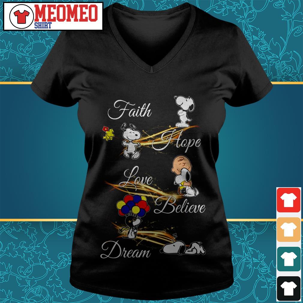 Snoopy faith hope love believe dream V-neck t-shirt