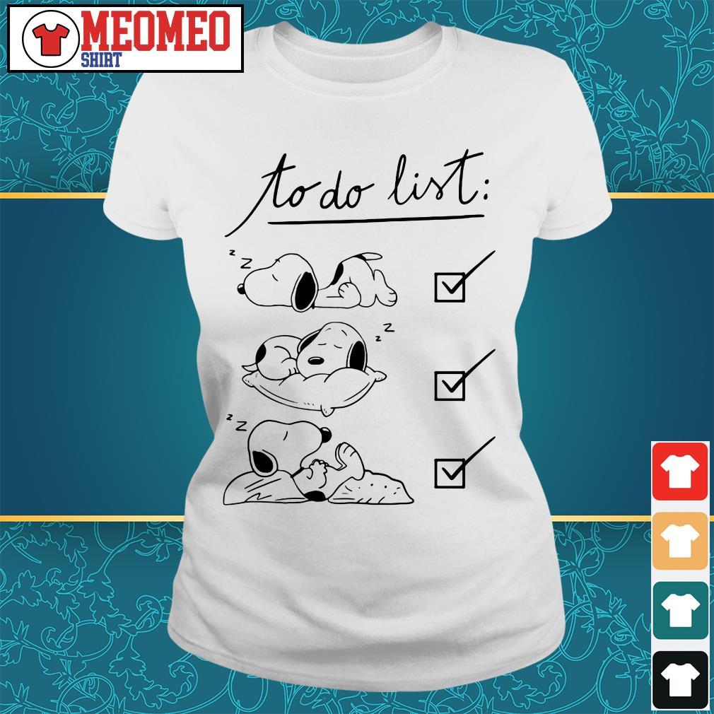 Snoopy to do list sleep Ladies tee