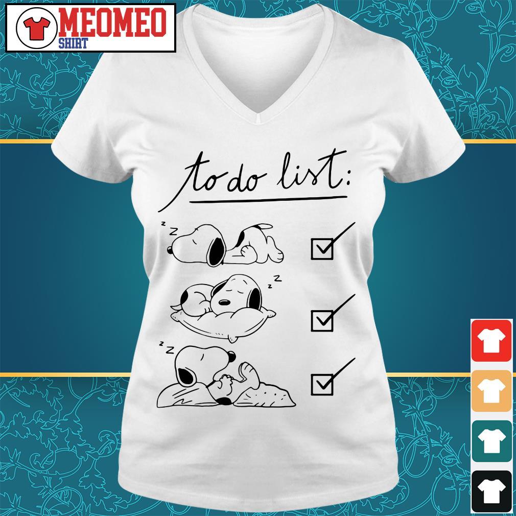 Snoopy to do list sleep V-neck t-shirt