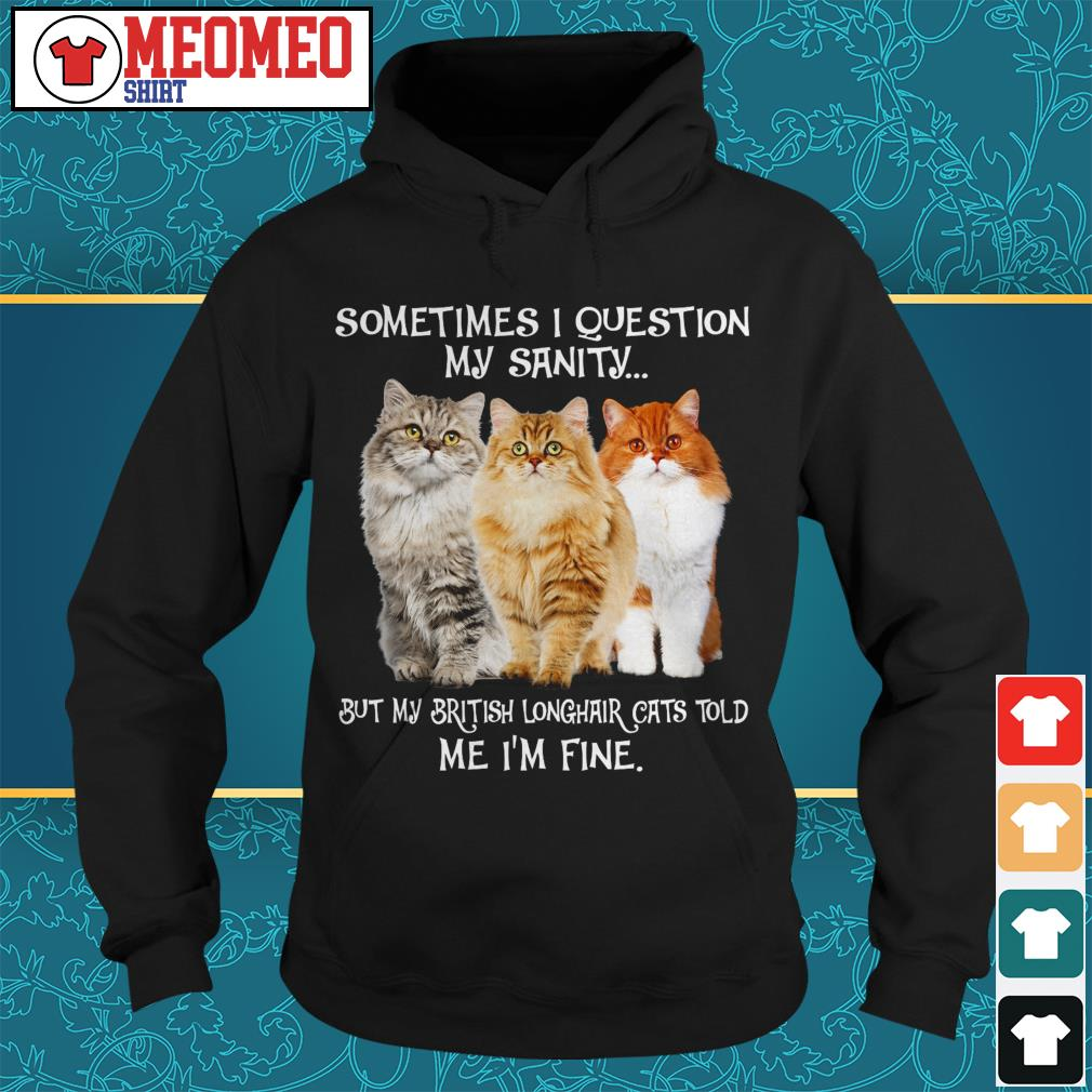 Sometimes I question my sanity but my British Longhair cats told me I'm fine Hoodie
