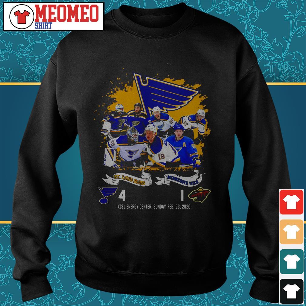 St Louis Blues and Minnesota Wild Xcel energy center sunday Feb 23 2020 Sweater