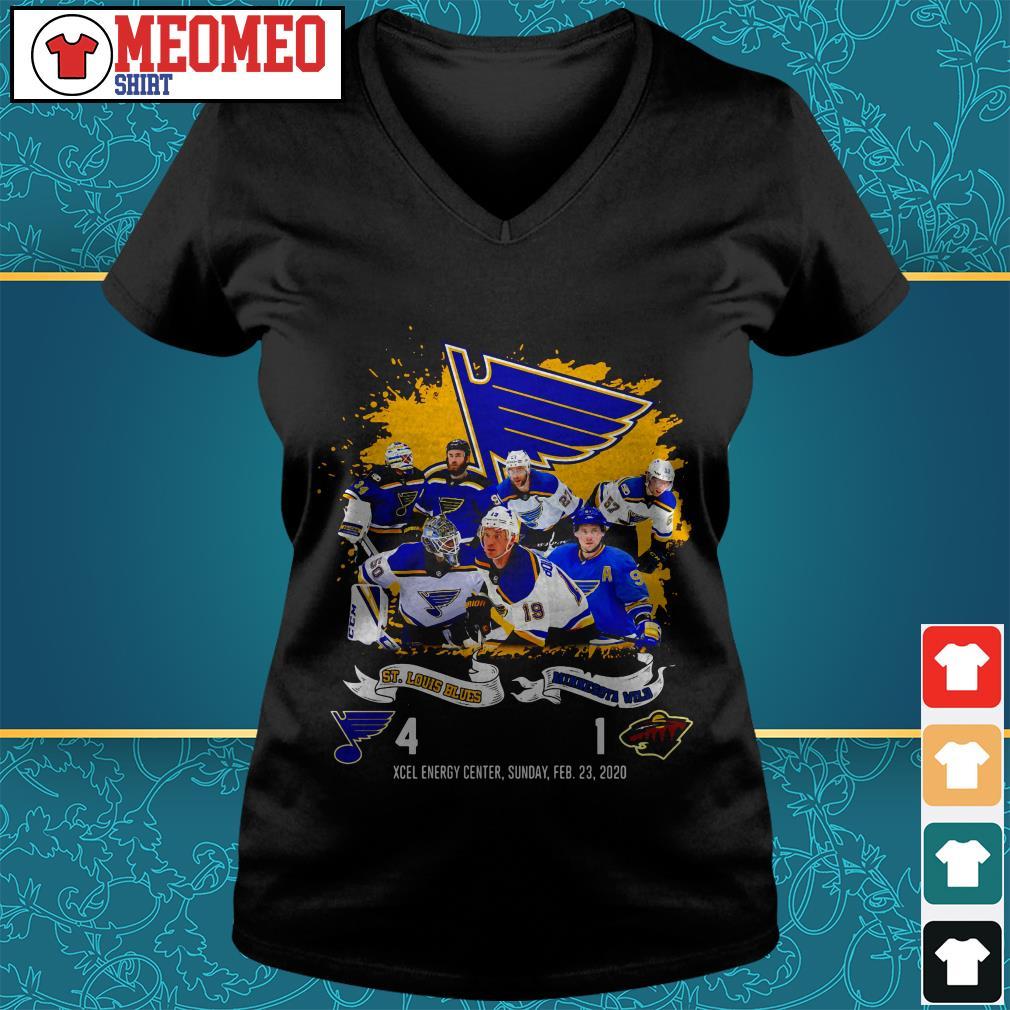St Louis Blues and Minnesota Wild Xcel energy center sunday Feb 23 2020 V-neck t-shirt