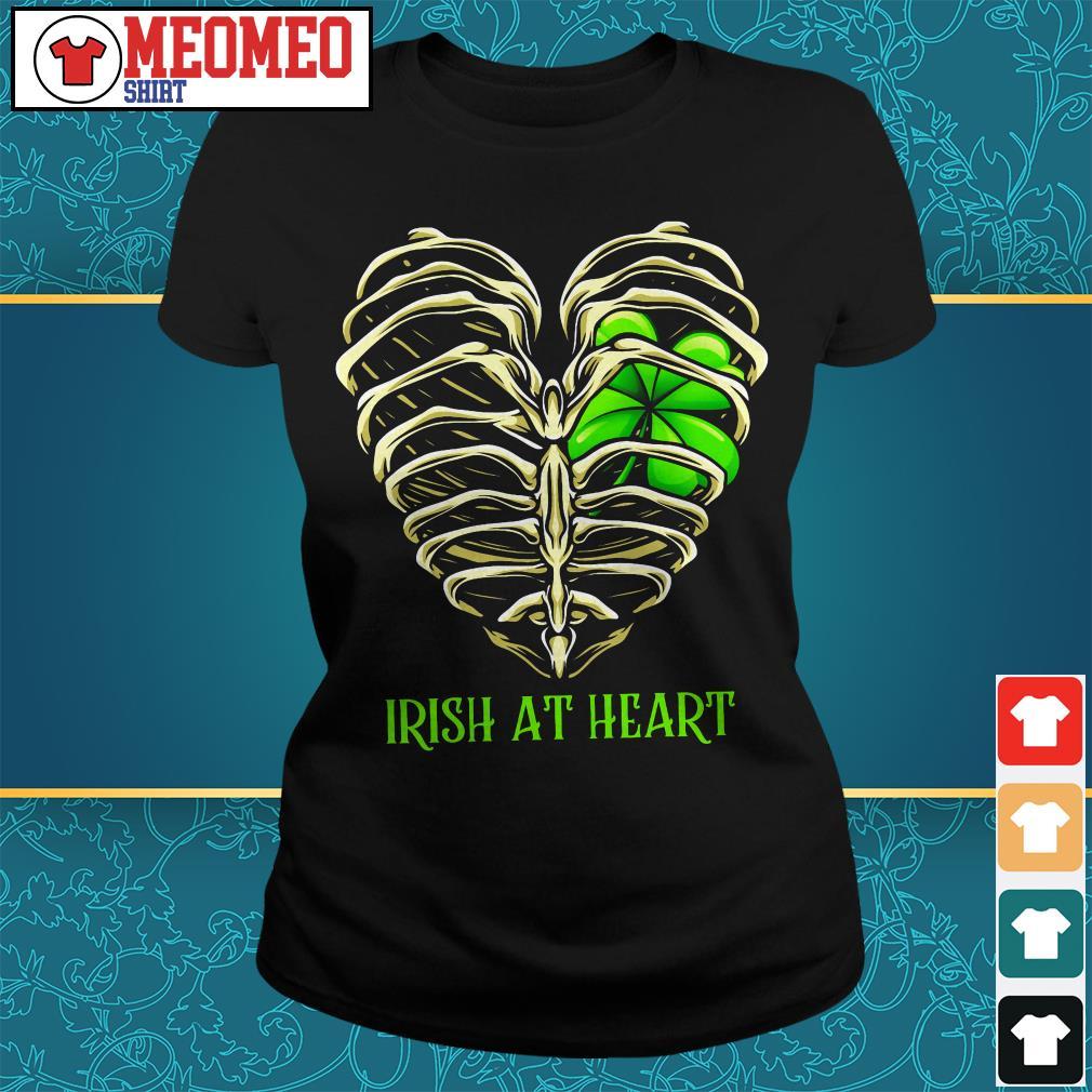 St Patrick's day Irish at heart skeleton Ladies tee