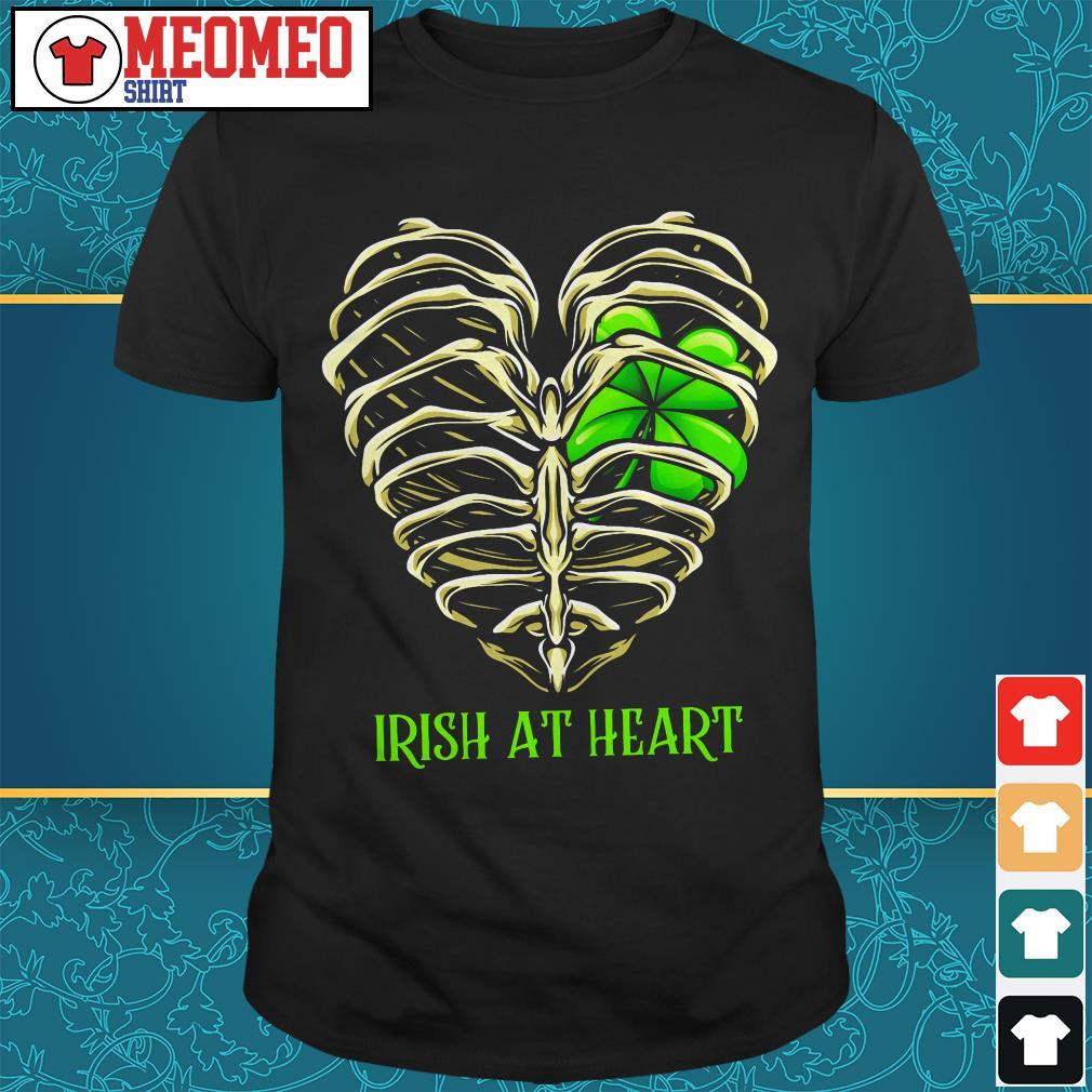 St Patrick's day Irish at heart skeleton shirt