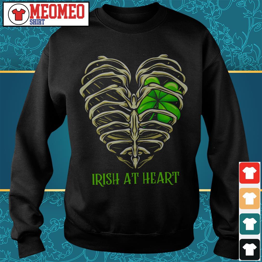 St Patrick's day Irish at heart skeleton Sweater