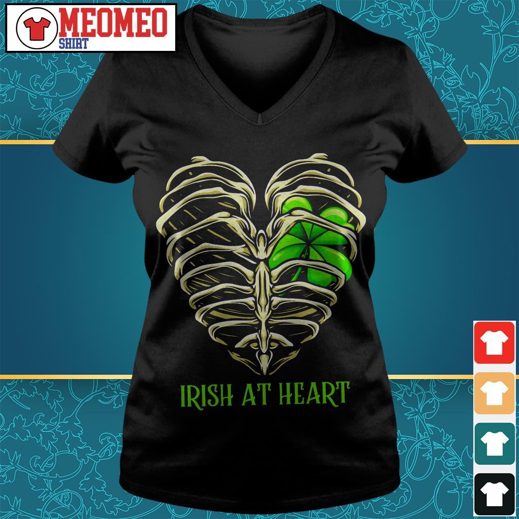 St Patrick's day Irish at heart skeleton V-neck t-shirt
