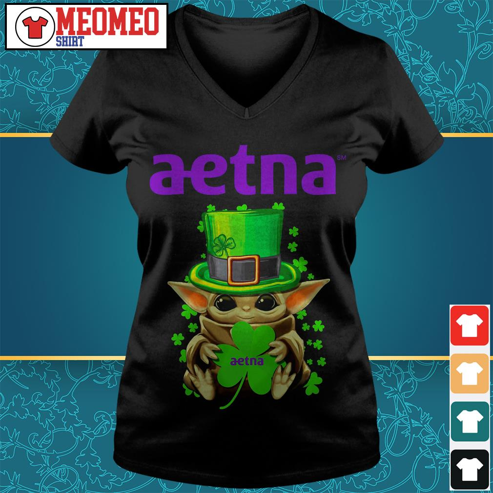 St Patrick's day Baby Yoda aetna V-neck t-shirt