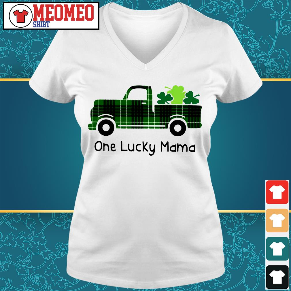 St Patrick's day car one lucky mama V-neck t-shirt