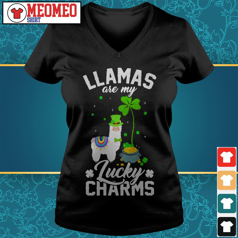 St Patrick's Llamas are my lucky charms V-neck t-shirt