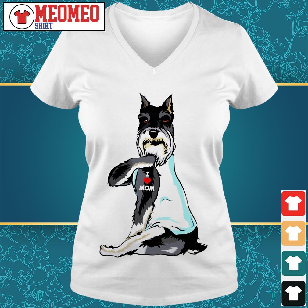 Standard Schnauzer dog dog I love mom V-neck t-shirt