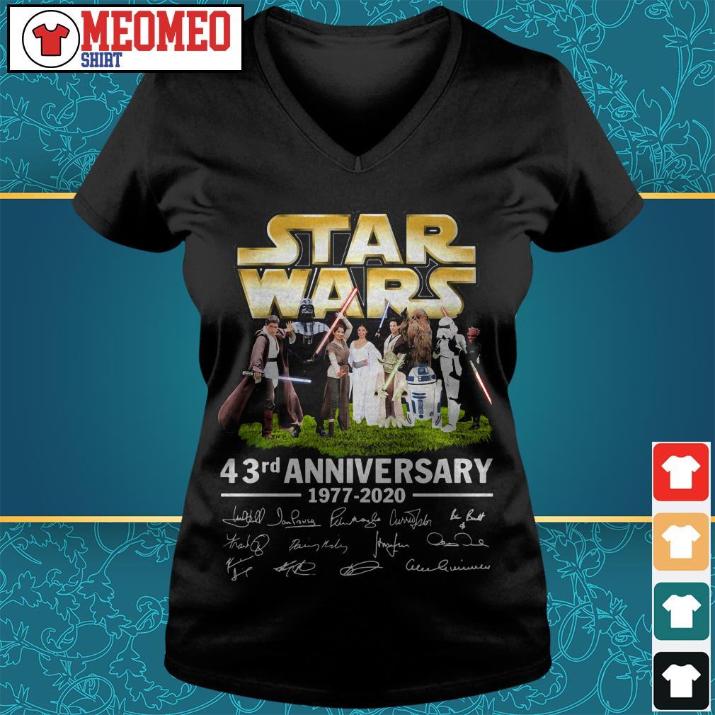 Star Wars 43rd anniversary 1977-2020 signatures V-neck t-shirt