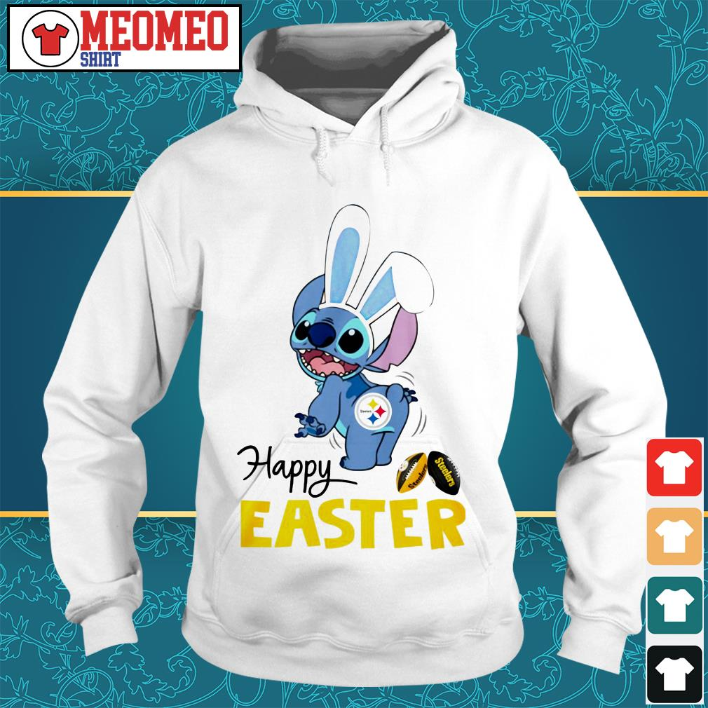 Stitch bunny Pittsburgh Steelers happy easter Hoodie