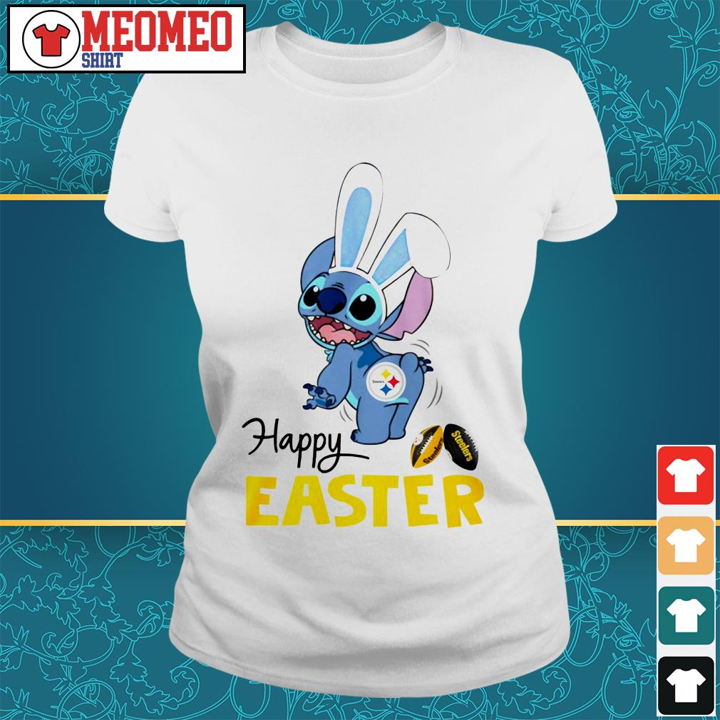 Stitch bunny Pittsburgh Steelers happy easter Ladies tee