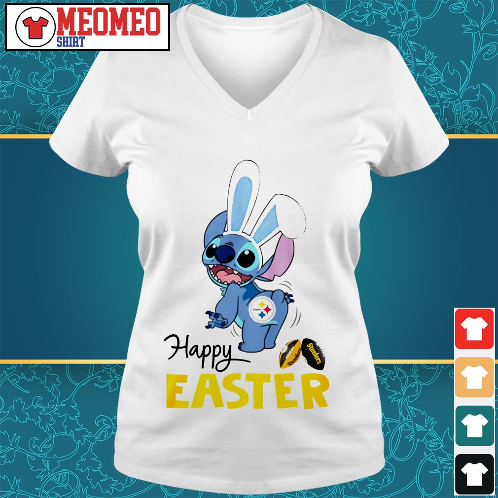 Stitch bunny Pittsburgh Steelers happy easter V-neck t-shirt