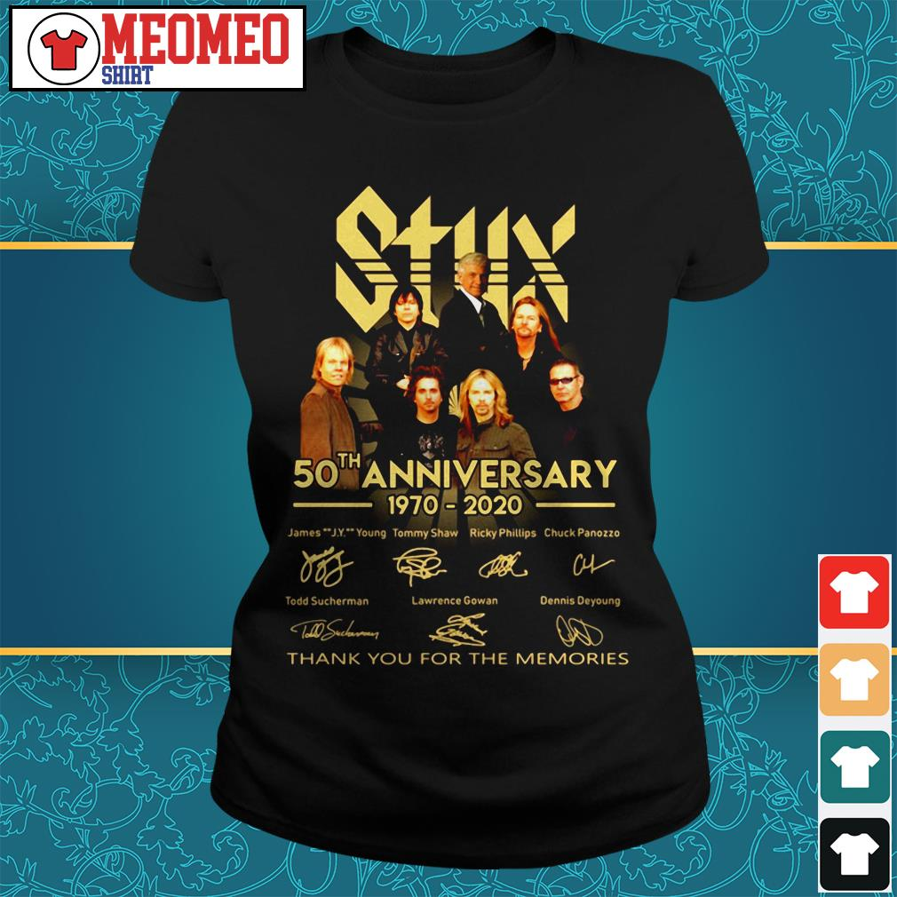 Styx band 50th anniversary 1970-2020 signatures thank you for the memories Ladies tee